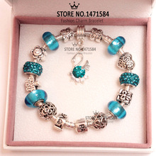 Free Shipping 2014 New Arrival European Style Yellow Murano Glass Beads Charm Bracelet for women Silver Fashion Jewellery