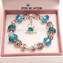 European charm Swan Crystal Beads Fits Pandora Style blue Bracelets for women fashion charm Beads wholeasle