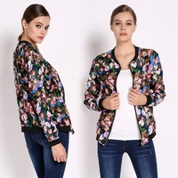 Hot New Flower Print Jacket Women Coat Zip Top Baseball Bomber Cardigan Coat B22 SV009078