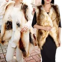 2014 New Hot Selling Medium Long Design Female Faux Fur Vest Outerwear Plus Size Faux Fur Coat Waistcoat Women CoatSV07 CB031126