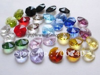 Free Express Shipping +Assorted 10 Colours--AAA Top Quality  14mm K9 Crystal Jewelry Beads 2 holes