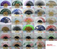 15pc Hand Held Bamboo 100% Silk Folding Fan Wedding Favor,free shipping