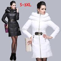 winter medium-long heap collar thicken white duck down coats&jackets for women lady slim waist high quality Bud collar parka