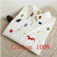 Fashion Ladies' cartoon animal and leaf embroidery soft cotton blouse elegant long sleeve stylish Shirt casual slim tops W00438