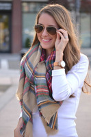 bufanda manta cuadros 2014 Winter Women Scarves Imitation Cashmere Plaid Scarf Spain Brand Scarf Oversize Shawl