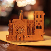 Vintage Notre Dame de Paris Creative 3D Pop UP Greeting & Gift Cards Free Shipping (set of 10)