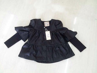 wholesale (5pcs/lot)-child girl spring and autumn  ruffle sleeves leather jacket