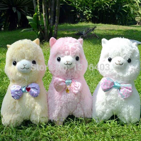 45cm Japan Alpacasso Wearing Bow Tie Cuddly Baby Alpaca Plush Doll toys 3 Color Giant Stuffed Animals Sheep Lama Hot Toys(China (Mainland))
