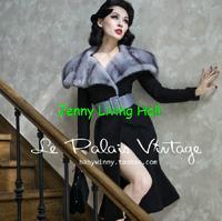 Le palais vintage Winter women elegant faux mink fur tail stripes lapel Slim Black wool overcoat