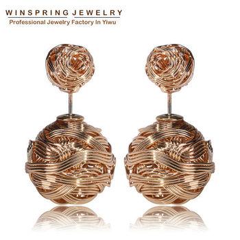 Горячая распродажа золото серебро черный позолоченные серьги два шарика жемчуг серьги стержня мода утюг перл женщины серьги