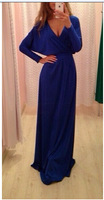 2015 new winter dresses new fashion tall ladies blue/beige V-neck long-sleeved long Maxi dress sexy party vestidos for women