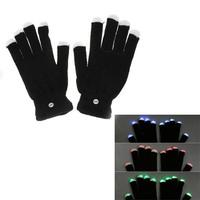 7 Mode Flashing Light Up Fingertip Led Gloves Party Gloves Mittens Glow Mitt Black