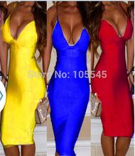 2014 Nueva amarillo azul correa para el cuello de color beige rojo V sexy señora vestido vendaje del partido de tarde negro(China (Mainland))