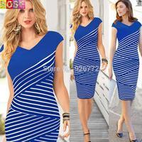 2015 brand new women sexy summer fashion black and white striped dress