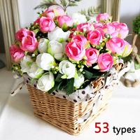New 50 Types! Rose Artificial Silk Flowers Bouquet + Square Rattan Storage Basket Vase Set Home Table/Wedding Decorative Flowers