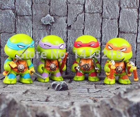4 Pcs/Set 7cm TMNT Cute Action Figure Toys Comics Movie Teenage Mutant Ninja Turtle IMAGE Marvel DC Superheroes Q dolls Gifts(China (Mainland))