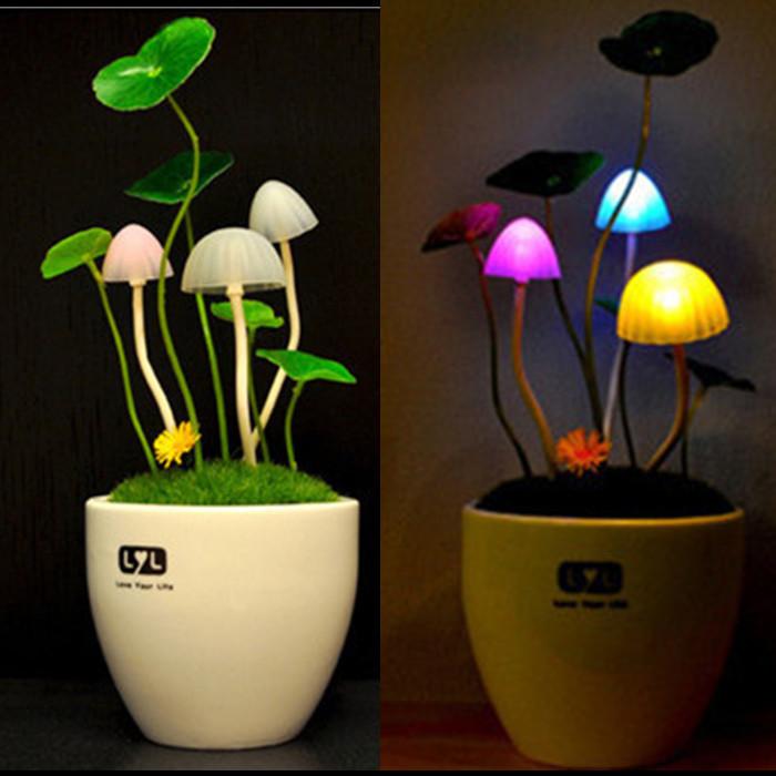Romantic Home Illumination Colorful LED Mushroom Night Light DreamBed Lamp Home Illumination Flashlight Lava Lamp Plasma Ball(China (Mainland))