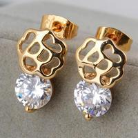 2014 hot /  green copper plating 18K Gold Earrings  shiny Earrings