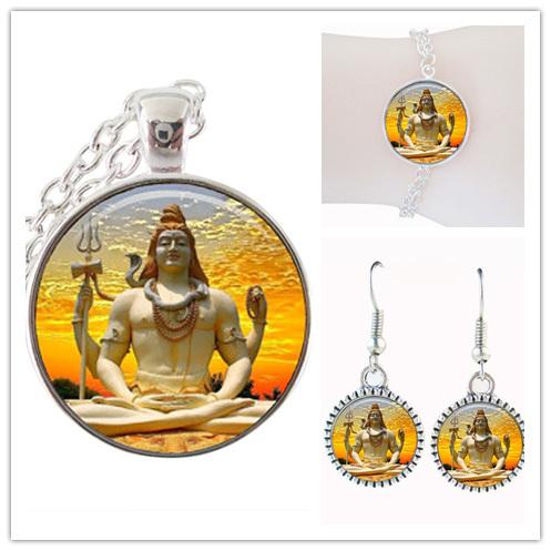fashion lord jewelry set glass dome zen Buddha jewelry silver chain indian necklace set religious jewelry set women jewellery(China (Mainland))