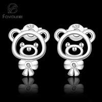 E544 HOT BEST SELLING 2014 Teddy Bear 925 silver earrings women fashion high quality clear Stone Ohrring/boucle/brinco/pendiente