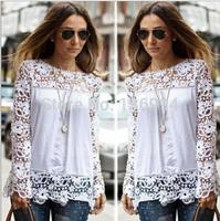 ResuliResuli 2014 Remarkable 1PC Women Sheer Sleeve Embroidery Lace Crochet Tee Chiffon Shirt Blouse Cool S-5XL Q278
