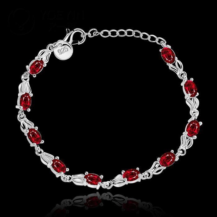 H350 Free Shipping Latest Women RUBY STONE Classy Design 925 silver Stamp bracelet ruby crystal Factory Direct Sale(China (Mainland))