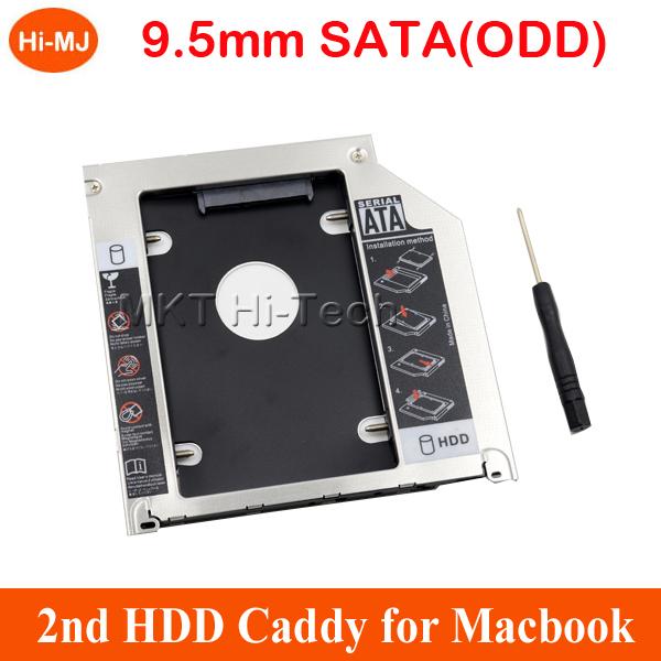 "2015 Aluminum SATA to SATA 2nd HDD Caddy 9.5mm SSD Case HDD Enclosure Optibay for Macbook Pro 13"" 15"" 17"" SuperDrive Optical Bay(China (Mainland))"