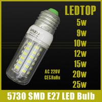 1Pcs ce&rohs SMD 5730 E27 E14 LED Lamp 3w 5W 9w 10W 12w 15W 20w 25W AC 220V Ultra Bright 5730SMD LED Corn Bulb light Chandelier
