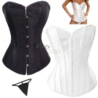 Sexy Corset Women Bone Bustier Corset + G-string waist training corsets and bustiers Black White S M L XL XXL 3XL 4XL SV14