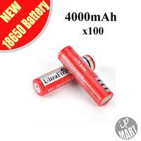 FS! 3.7V Ultrafire Battery 18650 4000mAh  Li-lon Battery Rechargeable Battery (Red) for LED flashlight 100pcs/lot