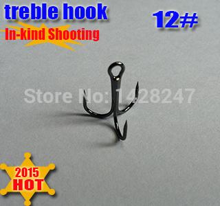 2015new fishing treble hooks three anchor hook three claw size:12# round bent treble hook quantiy:200pcs/lot(China (Mainland))