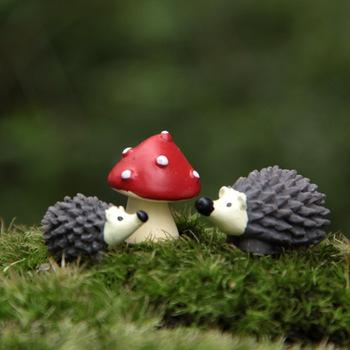3 шт. комплект смола ежик с красной точкой гриб миниатюры садовый гном мосс террариум ремесла бонсай zakka