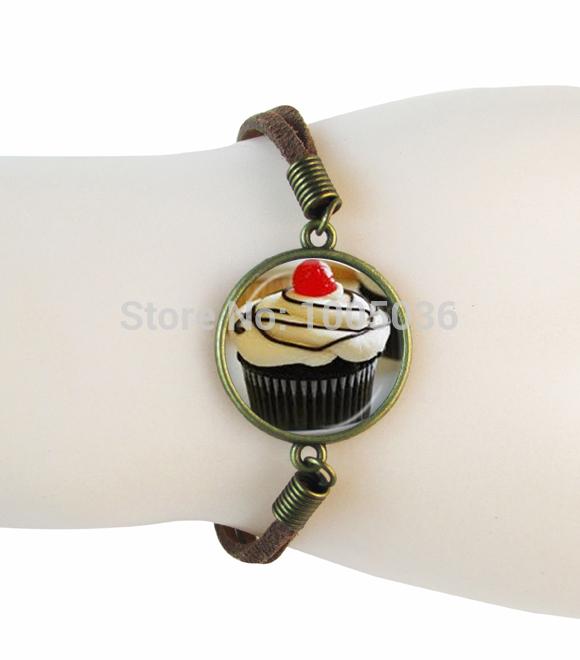 sweet cupcake bracelets art photo cake bracelet cupcake leather bracelet bangle women men suede bracelet birthday gifts jewelry(China (Mainland))