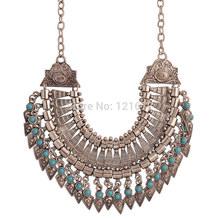 Nova Bohemian Fringe borla declaração colar Vintage Boho Gypsy Festival prata turco étnico Chunky pingentes colar(China (Mainland))