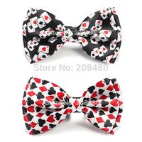 "New Arrival Gentlemen Bow ties Fashion ""Playing Card / Polker"" Pattern Bow tie Men's Unisex Tuxedo Dress Bowtie Party Tie"