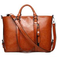 Women Oil Wax Leather Handbag Cowhide Leather Shoulder Bag Women Genuine Leather Crossbody Bag Women Messenger Bag Fashion Tote