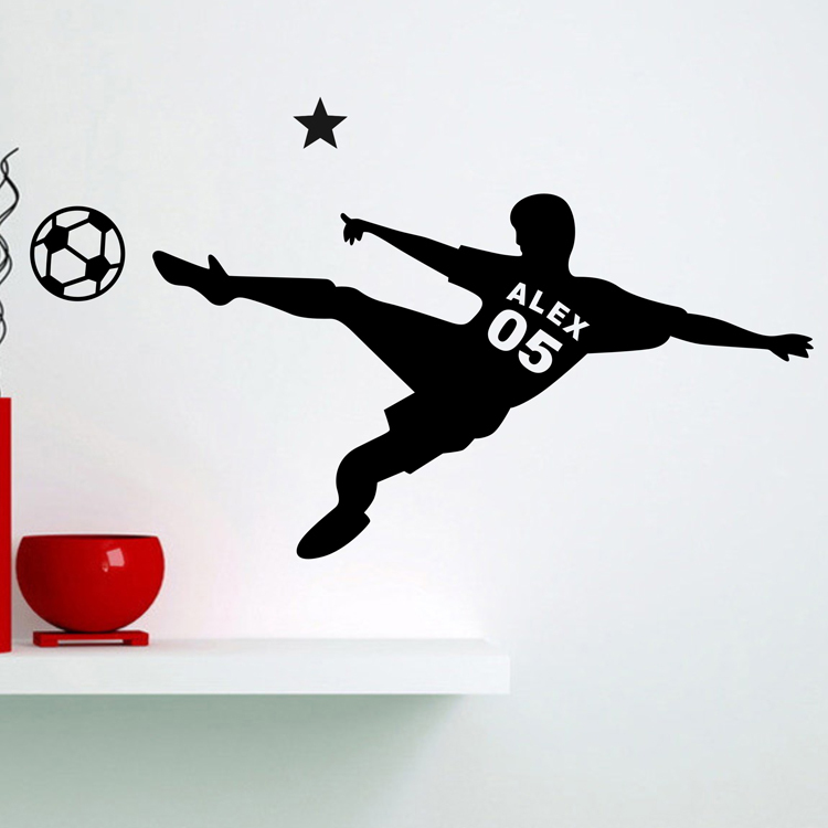custom name football soccer wall decals wall stickers home decor wall
