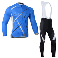 AntiWrinkle Blue Breathable New Spring Autumn cycling jersey men Long Sleeve+Bib Pants Bike Clothes  cycling clothing BT0005