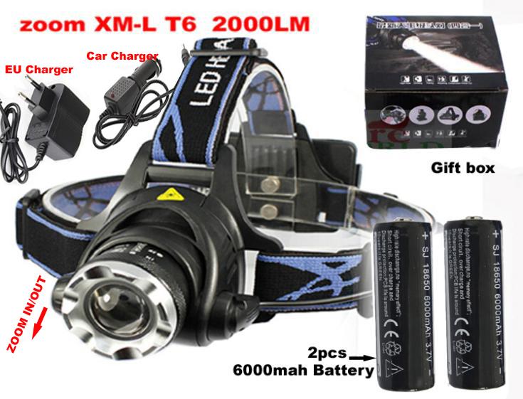 T6 led-scheinwerfer 2000 lumen cree xm-l xml t6 scheinwerfer taschenlampe kopf lampe + 2*18650 6000 mah akku + Ladegerät