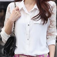 Fashion Women Lace Shirt 2015 New Openwork Long Sleeve Lapel Chiffon Shirt Fresh Ladies White Shirt Plus Size Women's Blouses