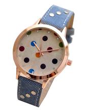 Scrub Popular Retro Fashion Denim Colored Dots Female Form Quartz Watches Ladies Luxury Watch W10070 4