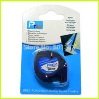 """2PCS compatible Dymo LetraTag LT 91201 BLACK ON WHITE PLASTIC LABEL Tapes 12mm x 4m 1/2"""" W X 13' L"""