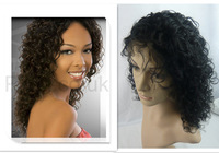 Brazilian virgin curly glueless front lace wig with baby hair and free style 100% real hair