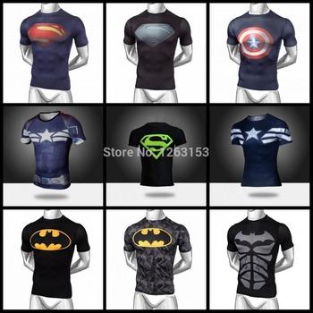 Горячие продаж 2015 новый сжатый футболки горячие видели супермен / бэтмен т рубашки мужчин спортивные быстрый сухой фитнес одежды спортивной M-XXL