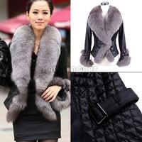 Casual Girl Women Winter Warm Faux Fur Collar Coat Leather Jacket Overcoat Parka Tops Elegant Lady Black Short Outwear BPR064