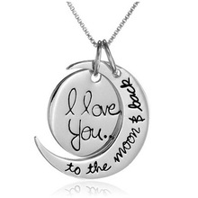 "2015 Valentine's Day "" I Love You To The Moon and Back"" Silver Pendant Necklace Women Girl Gift Chain Statement Necklace Jewelry(China (Mainland))"