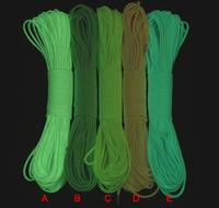 Wholesale Cheap 9 Strand 100 feet Glow in the dark GITD Luminous Survival Paracord wholesale 5 colors
