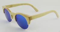 bamboo black frame zebra wood temple wood bambu round bule lense sunglasses 2014 vintage brand designer glasses women men z6017