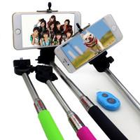 Extendable Self Selfie Stick Handheld Monopod +Clip Holder+App Camera Remote Shutter Controller for iPhone Samsung Gopro
