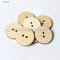 (200pcs/lot) Unfinished Personalized button plain wooden button with your own message or shop name 30mm-CT1205C